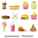 Fast Food Icon Set.  Isolated...