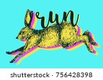 Stock vector running hare rabbit vector illustration hand drawn ink jumping bunny 756428398