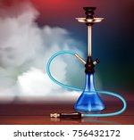 blue hookah and smoke with... | Shutterstock .eps vector #756432172
