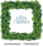 new year and christmas wreath.... | Shutterstock .eps vector #756436522