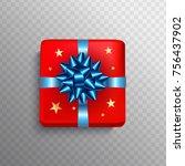christmas gift box red present... | Shutterstock .eps vector #756437902