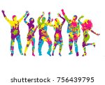 dancing people silhouettes.... | Shutterstock .eps vector #756439795