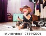 little girl wearing mothers... | Shutterstock . vector #756442006