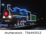 the locomotive  on the pore... | Shutterstock . vector #756443512