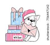 merry christmas illustration...   Shutterstock .eps vector #756447142