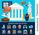 museum icons collection of... | Shutterstock .eps vector #756449692