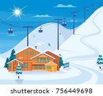 winter skiing resort with snow... | Shutterstock .eps vector #756449698
