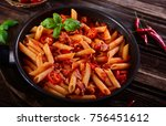 penne pasta with chili sauce... | Shutterstock . vector #756451612