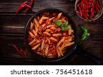 penne pasta with chili sauce... | Shutterstock . vector #756451618
