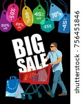 big sale. creative colorful... | Shutterstock .eps vector #756451846