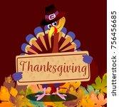 cartoon thanksgiving turkey... | Shutterstock .eps vector #756456685