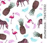 pink pineapple sketch  zebra... | Shutterstock .eps vector #756473332