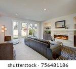 cozy living room space with wet ... | Shutterstock . vector #756481186