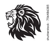 lion roaring vector icon logo... | Shutterstock .eps vector #756486385