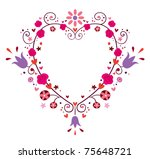 heart frame with flowers - stock vector