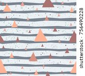 cute pattern with triangles on... | Shutterstock .eps vector #756490228