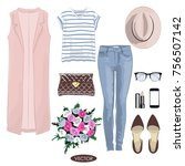 casual spring outfit for girl.... | Shutterstock .eps vector #756507142