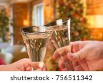 man and woman toasting... | Shutterstock . vector #756511342