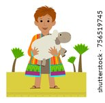 joseph with his colorful coat...   Shutterstock .eps vector #756519745