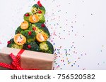 christmas tree made of broccoli ... | Shutterstock . vector #756520582