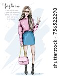 hand drawn fashion woman in... | Shutterstock .eps vector #756522298