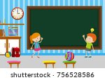 boy and girl writing on... | Shutterstock .eps vector #756528586