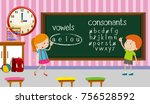 kids studying english in... | Shutterstock .eps vector #756528592