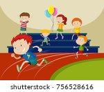 boys running in the race... | Shutterstock .eps vector #756528616