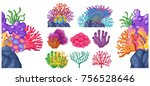 different types of coral reef... | Shutterstock .eps vector #756528646