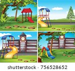 four scenes with playground... | Shutterstock .eps vector #756528652