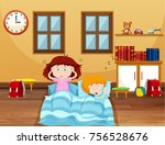boy and girl sleeping in bed... | Shutterstock .eps vector #756528676