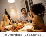 group of young people... | Shutterstock . vector #756530488