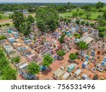 Small photo of Cemetery with aboveground tombs in Mbocayaty del Guaira - Paraguay