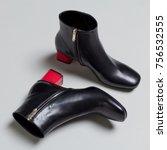 beautiful luxury black leather... | Shutterstock . vector #756532555
