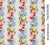 floral watercolor seamless...   Shutterstock . vector #756545698