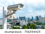 2 cctv systems city background...   Shutterstock . vector #756554425