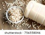 soymilk and barley seed   Shutterstock . vector #756558046