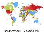 color world map vector | Shutterstock .eps vector #756561442