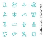 set of 16 nature outline icons...