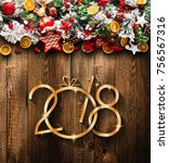 2018 happy new year and  merry... | Shutterstock . vector #756567316