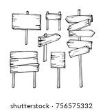vector set of hand draw wooden... | Shutterstock .eps vector #756575332