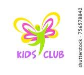 kid club logo. silhouette of... | Shutterstock .eps vector #756578842