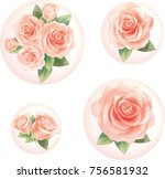 pink rose in bubbles.... | Shutterstock .eps vector #756581932