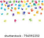 colorful hands  palms isolated... | Shutterstock .eps vector #756592252