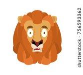 lion scared omg avatar emotion. ... | Shutterstock .eps vector #756593362