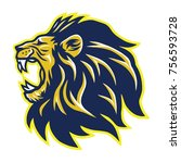 wild lion roaring head mascot | Shutterstock .eps vector #756593728