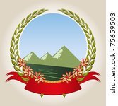 Mountaineering badge with a laurel wreath, ribbon, track, and the mountains as symbols mountaineering and hiking.
