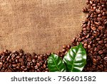 coffe beans background | Shutterstock . vector #756601582