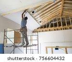 construction worker is putting... | Shutterstock . vector #756604432