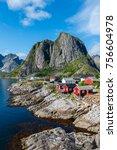 lofoten summer landscape... | Shutterstock . vector #756604978